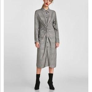 Zara knot midi button down plaid dress XS